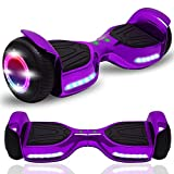 CHO POWER SPORTS Hoverboard 6.5' inch Wheel Electric Smart Self Balancing Scooter with Built-in Wireless Speaker Shiny LED Wheels and Side Lights Safety Certified (Shiny Violet)