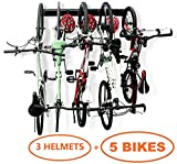 Bike Rack Garage Storage 5 Bicycles Hooks Wall Mount Bike Hanger Indoor Space Saving (8 Hooks and 3 Rails)