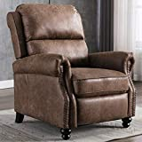 CANMOV Recliner Chair, Arm Chair Push Back Recliner with Rivet Decoration, Cholocate