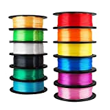 MIKA3D 12 in 1 Bright Shine 3D Printer Silk PLA Filament Bundle, Most Popular Colors Pack, 1.75mm 500g per Spool, 12 Spools Pack, Total 6kgs Material with One Bottle of 3D Printer Stick