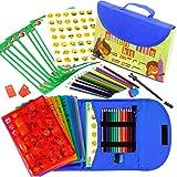 Kit de Plantillas de Dibujo de 55 Piezas con Estuche. Plantillas con más de 280 formas, Lápices de Color, Papel. Suministros Artísticos para la Creatividad, Aprendizaje y Diversión. Ideal como Regalo