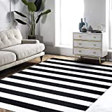EARTHALL Black and White Striped Rug Outdoor 4'x6', Cotton Hand-Woven Black Striped Door Mat, Reversible Foldable Washable Outdoor Rug Stripe for Layered Door Mats Porch/Front Door (47.2' x70.8'')