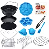 Square Air Fryer Accessories 12 pcs with Recipe Cookbook Compatible with Philips Air Fryer, COSORI