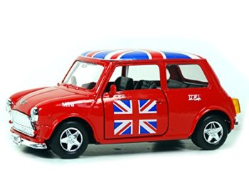 Welly Mini Cooper Model (Red) with Union Jack Top Made of Die Cast Metal and Plastic Parts, Pull Back & Go Action Toy - 384R