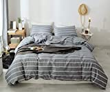 Janzaa Comforter Set Striped Comforter Set Bedding Sets Queen with Comforter,3PCS Gray Comforter Set Soft White Stripe Pattern Comforter Set for Queen Bed with 2 Pillow Cases