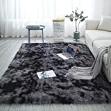 Shag Collection Area Rug Soft Faux Silky Smooth Sheepskin Carpet Fluffy Area Rug for Home Kids Bedroom Dormitory Decor Chair Cover Seat Pad Sofa Bedside Anti-Slip Shaggy Throw Rug Grey 5.3 x 6.6ft