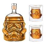 JUSSES Kreative Whiskykaraffe, transparent, für Whisky, Wodka und Wein, 1 x Stormtrooper Flasche (750 ml) und Stormtrooper 2 Gläser (8,5 x 9,5 x 9 cm)