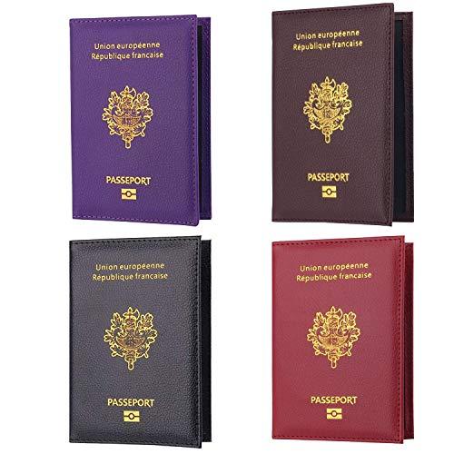 4pcs Protège-Passeport Porte Etui Housse Passeport Couverture Protection...