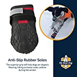 My Busy Dog Water Resistant Dog Shoes with Two Reflective Fastening Straps and Rugged Anti-Slip Sole | Dog Boots Perfect for Small Medium Large Dogs | Size Chart in Pictures(Size 4, Red)