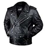Leather Motorcycle Jacket For Men Moto Riding Cafe Racer Vintage Brando Biker Jackets CE Armored (M)
