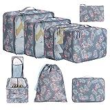 Eono by Amazon - 8 Set Cubos de Embalaje, Organizadores para Maletas, Travel Packing Cubes, Equipaje de Viaje Organizadores, con Bolsa de Zapatos, Bolsa de Cosméticos y Bolsa de Lavandería, Flamenco