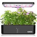 iDOO Hydroponic Growing System, 12Pods Indoor Herb Garden with Grow Light, Germination Kit with Air System, Automatic Timer, Height Adjustable