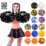 ANALAN 15 Colors Pack of 2 Plastic Cheerleading Pom Poms for Sport Team Kids Adult (Black)