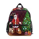 Mochila para niños y niñas Mini Mochila Bolsa de Viaje con Clip para el Pecho Perro cariñoso de Navidad