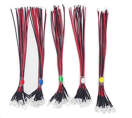 Haobase 1Pack (50pcs) 5mm 12V DC Multicolore LED Lampadina Precablata da 20cm