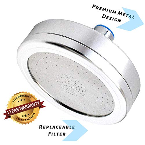 Filtered Shower Head, ALL METAL, Reduces Chlorine, Enhanced Pressure, Oversized Bathroom Rain Shower, Luxury Modern Chrome Look