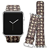 Compatible with Apple Watch iWatch (38/40 mm) Series 5, 4, 3, 2, 1 // Leather Replacement Bracelet Strap Wristband + Adapters // Pugs