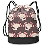PmseK Mochila con Cordón,Bolsas de Gimnasia, Cute Newt Axolotl Multifunctional Bundle Backpack Shoulder Bag For Men and Women