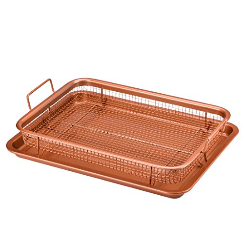 Copper Chef Crisper Tray – Non Stick Cookie Sheet Tray And Air Fry Mesh Basket Set, Transform Your Oven Into Oil Free Air Fryer