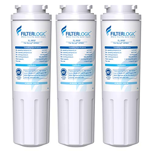Filterlogic UKF8001 Water Filter, Replacement for Maytag UKF8001P, UKF8001AXX, Whirlpool 4396395, 469006, EDR4RXD1, EveryDrop Filter 4, PUR, Puriclean II, package may vary(Pack of 3)