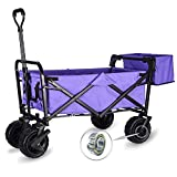 WHITSUNDAY Collapsible Folding Garden Outdoor Park Utility Wagon Picnic Camping Cart with Fat Wheel Bearing and Brake (Standard Size(Plus+) 8' Heavy Duty Wheels, Purple)