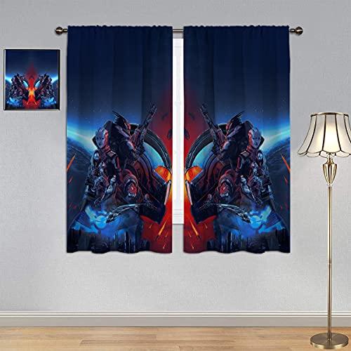 Ma_ss Effect Legendary Edition Vorhänge, Verdunklungsvorhänge, Urdnot Wrex & The Citadel & Miranda Lawson & Tali'Zorah Energieeffizienz Vorhänge, wärmeisoliert, bedruckt, 107 x 114 cm