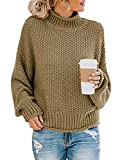 Womens Vintage Sweaters Long Sleeve Tops Casual Pullover Halloween Khaki M