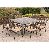 Hanover TRADDN9PCSQ Traditions 9 Piece Square Set with Stationary Chairs and a Large Dining Table, 60 x 60 Outdoor Furniture, Tan