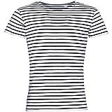 SOLS Miles - T-Shirt rayé à Manches Courtes - Homme (L) (Blanc/Bleu Marine)