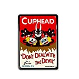 ATTRACTIVE DESIGN. This metallic lustrous tin sign features Cuphead's famous line 'Don't deal with the Devil' in text. STYLISH ARTWORK. The Tin sign portrays beautiful artwork of Cuphead, Mugman and their nemesis, the Devil. CONVENIENT TO HANG. The s...