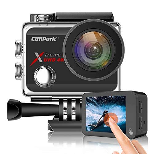 Campark Action Cam Nativo 4K/60FPS 20MP WiFi Impermeabile 40M Fotocamera Subacquea Digitale, Avanzato Sensore Super EIS Stabilizzata Videocamera, 2'' IPS Screen con 2 1350mAh Batterie