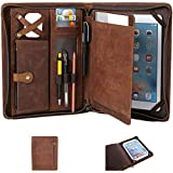 Leather Case for ipad Pro 11' Genuine Leather Smart Folio for 11-inch ipad pro 11 case with Pencil Holder Zipper Pocket Multifunctional iPad Leather Case for iPad 11 /iPad 10.5/10.2 inch ipad/iPad 9.7