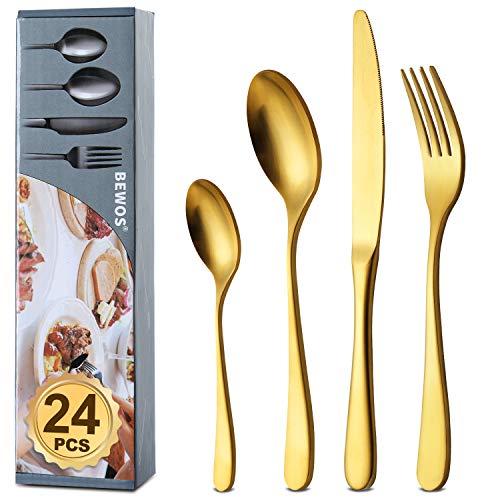 BEWOS Set di posate in Acciaio Inox, 24 Pezzi posate in titanio oro argenteria set-Forchette, Coltelli, Cucchiai Cena,Cucchiai, servizio per 6,lavabile in lavastoviglie(Oro Opaco)