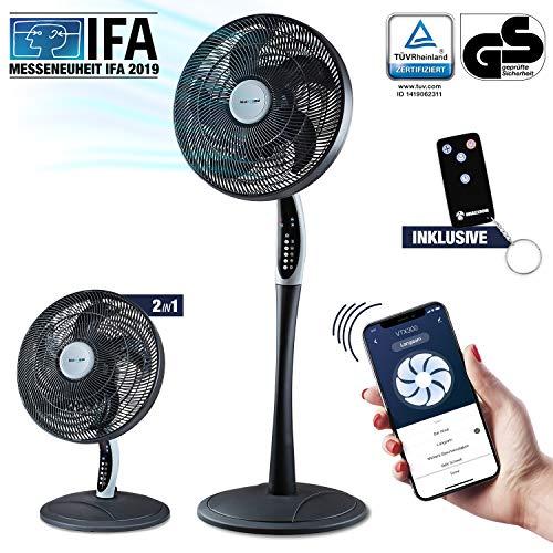 2in1 Standventilator extra leise| Smarte Tuya App + Amazon Alexa + Google Assistant |VTX300 55W Tisch-Ventilator mit Fernbedienung & Display fürs Schlafzimmer | RelaxxNow Air Conditioner + in Mini