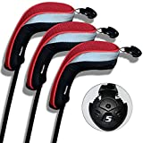 3 Pack Andux Golf Hybrid Club Head Covers Interchangeable No. Tag MT/hy01 Black & Red