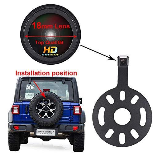 Telecamera per Retromarcia impermeabile IP67 Telecamera posteriore con visione notturna per Jeep Wrangler/Willys/Unlimited/Sahara Spare tire Rubicon 2007-2015(18mm Top Lens)