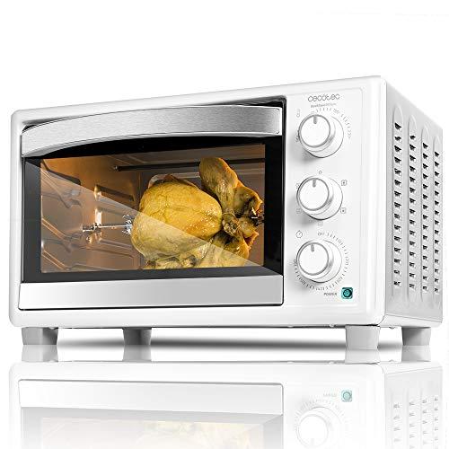 Cecotec Tisch- Umluftofen Bake&Toast Gyro - Kapazität von 30 Liter, 1500 W, 5 Modi, Temperatur bis 230ºC und Timer bis 60 Minuten, Inklusive Zangen Zubehör. (690, Weiss)