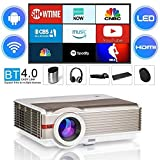 """WIKISH Video Projector,Bluetooth WiFi Projector 5000 Lumen LED LCD Proyector Support 1080p/Zoom/Screen Mirroring/200"""" Large Display with HDMI USB AV for Game Console TV Box DVD Player Mac Tablet PC"""