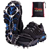 Crampon pour Chaussure, 19 Dents Crampons de Glace Universelles Glace Traction Antidérapant Grips...