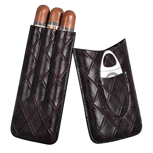 Volenx Etui à cigares, Etui 3 cigares Portable avec Coupe-Cigare en Acier...