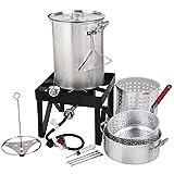 Backyard Pro 30 Qt. Deluxe Aluminum Turkey Fryer Kit/Steamer Kit - 55,000 BTU + Many Accessories Thanksgiving Propane Outdoor Cooking