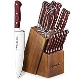 Emojoy Knife Set, 15-Piece Kitchen Knife Set with Block Wooden, Manual Sharpening for Chef Knife Set, German Stainless Steel