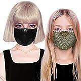 O³ Mundschutz Maske Pailletten// 2 Stoff Masken Gold,Schwarz, für Frauen // Waschbar & Wiederverwendbar perfekt für Silvester und die Weihnachtsfeier