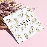 16 Cartes Remerciement avec 16 Enveloppes Bleues • Format 14x14 cm • Verso vierge pour écrire • Jungle Végétale Couleur Bronze Elégante et Originale • Popcarte