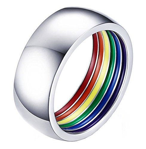 ALEXTINA 8MM Simple Style Stailess Steel LGBT Pride Ring...
