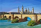 Pintura Del Número Kits,Vista Puente Zaragoza España Diy Pintura Al Óleo Por...