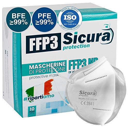 10 Mascherine Protettive FFP3 Certificate CE. Made in Italy. BFE ≥99% e PFE ≥99% Mascherine sigillate singolarmente.