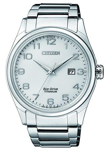 CITIZEN Herren Datum klassisch Solar Uhr mit Titan Armband BM7360-82A