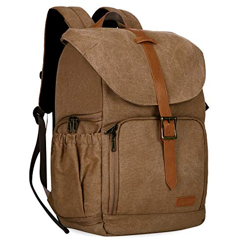 BAGSMART Camera Backpack, Water Resistant DSLR Camera Bag Canvas Bag Fit up to 15' Laptop with Rain Cover, Tripod Holder for Women and Men (Khaki-1)