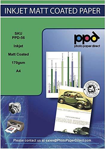 PPD A4 100 Fogli 170g Carta Opaca Di Qualit Fotografica Per Stampanti A Getto D'Inchiostro Inkjet - PPD-56-100